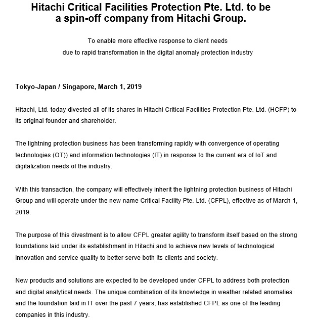 Hitachi Announcement